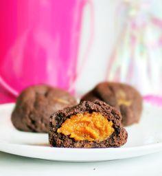 Secretly healthy chocolate cookies, filled with pumpkin pie.