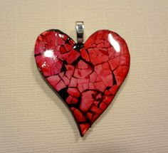 Eggshell Mosaic Red dyed Heart Pendant and chain - GREAT conversation piece