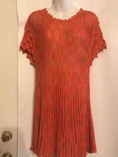 0ede0bb81ae6 Mechant Size L Acrylic Loose Knit Multi-Color Cap Sleeve Tunic Sweater Dress  NWT