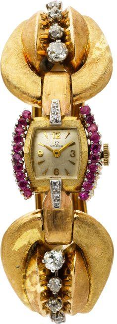 Estate Jewelry:Watches, Retro Omega Lady's Diamond, Ruby, Gold Wristwatch Image #1