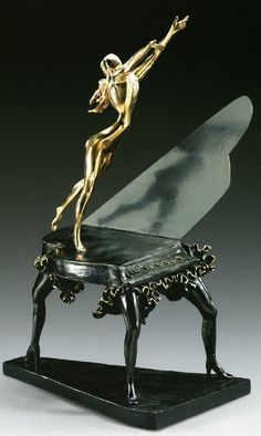 Surreal piano. Salvador Dali bronze sculpture