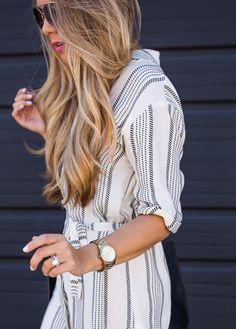 Striped Shirt Dress & Classic Flats   The Teacher Diva