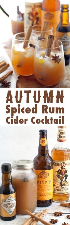 Looking for a fall cocktail? Try this autumn spiced rum cider cocktail – the perfect blend of spiced rum, spiced apple cider, hard cider, cinnamon and star anise! Autumn Spiced Rum Cider Cocktail - the perfect autumn cocktail! Cider Cocktails, Fall Cocktails, Holiday Drinks, Party Drinks, Cocktail Drinks, Cocktail Recipes, Thanksgiving Drinks, Fall Drinks Alcohol, Winter Drinks