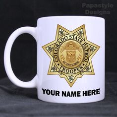 Colorado State Patrol Personalized 11oz Coffee Mugs Made in the USA. #Handmade