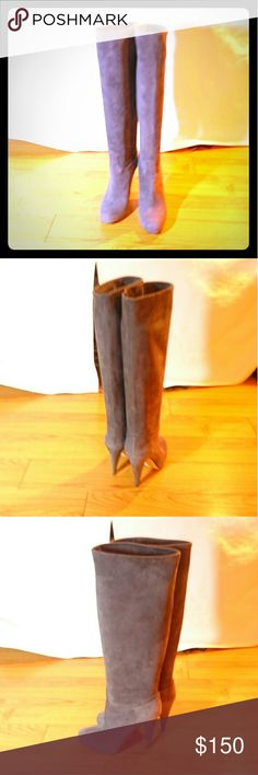 "Bally Grey soft suede knee high boots Soft, real suede leather, made in Italy knee high boots, 3.5"" heels, like new, no scratches, only light wear on the bottom, comes with dust bag Bally Shoes Heeled Boots"