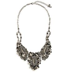 Natasha Couture Crystal Statement Necklace featuring polyvore, fashion, jewelry, necklaces, crystal chain necklace, chain statement necklace, chain pendants, gold tone necklace and bib statement necklace