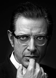 Jeff Goldblum - half frames cut a long face in half making it appear shorter