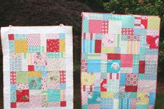 Disappearing Nine-Patch quilts made for Japan by Tasha @ A Little Sweetness and Kerri @ Lovely Little Handmades