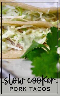 Pork Tacos with Cilantro Mayo (All Things Thrifty) Side Recipes, Pork Recipes, Mexican Food Recipes, Healthy Recipes, Sausage Recipes, Easy Homemade Recipes, Easy Dinner Recipes, Easy Meals, Slow Cooker Pork