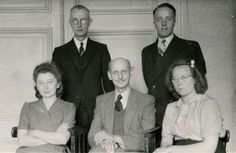 Pictured: Front row, left to right, Otto Frank (center) is seen here with his colleagues Miep Gies, and Bep Voskuijl; (back row, left to right) Victor Kugler and Johannes Kleiman.