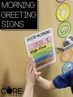Students greet each other each morning.
