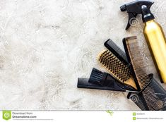 Photo about Professional hairdressing tools and accessories on stone table background top view. Image of hairspray, dresser, collection - 94269575 Love Hair, Hairspray, Top View, Invitation Design, Hairdresser, Background Images, Hair Care, Logo Design, Stock Photos