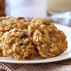 Healthy Oatmeal Raisin Cookies by skinnytaste: Here's a cookie you can feel good about eating - learn how to substitute applesauce for fat and maple syrup for processed sugar. #Cookies #Oatmeal #Walnut #Raisin #Healthy