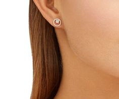LOVE. Creativity Circle Pierced Earrings, Small, White, Rose gold plating from #Swarovski