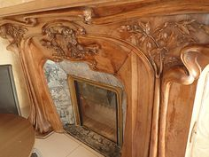 Fireplace Surrounds, Gas Fireplace, Fireplaces, Art Nouveau, Art Deco, Wood Carving, Flipping, Woodworking, Wall Decor
