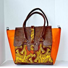 Orange African Print Bag from Zabba Designs African Clothing Store