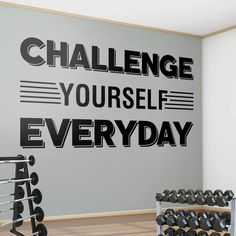 Challenge Yourself, Gym Wall Sticker, Gym Wall Decal, Gym Decor, Gym Walls, Exercise Stickers, Gym, Office, Wall Stickers, Wall Art, Gift Wall Stickers, Wall Decals, Vinyl Decals, Wall Art, Gym Decor, White Vinyl, New Wall, Motivate Yourself, Textured Walls