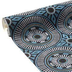 31785 papier peint vinyle african art coloris bleu turquoise