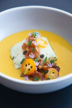 This halibut, lemon verbena, golden curry, quince and kumquat dish perfectly matches the sunny days and brings you refined and refreshing new flavours. Golden Curry, Halibut, Verbena, New Flavour, Fine Dining, Entrees, Berries, Good Food, Spices
