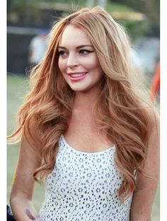 New Natural Wigs Long Wavy Light Reddish Blonde Full Lace 100% Indian Remy Hair About 24 Inch