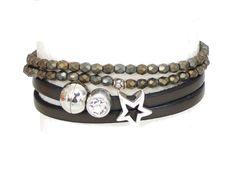 Armbänder - 2x Armbänder Leder taupe und Glasperlen taupe - ein Designerstück von AT-Schmuck bei DaWanda