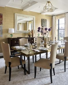 An ultra-chic dining room by @cullmankravis ft. a custom back-painted mirror made by @newelgallery + a set of two-tone candlesticks from @remainslighting   #remainslighting #candlestick #candleholder #candlelight #madeinny #diningroom #tabletop #decor #dining #design #lighting #interiordesign