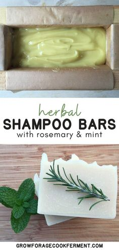 Homemade Rosemary Mint Shampoo Bars - - This is Jan Berry's recipe from the Natural Soap Making eBook bundle.For a more intense herbal experience, you can infuse a portion of the oils with dried rosemary and/or peppermint. Mint Shampoo, Shampoo Bar, Hair Shampoo, Natural Beauty Tips, Diy Beauty, Beauty Care, Kosmetik Box, Savon Soap, Soaps