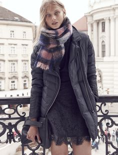 Madewell quilted down coat worn with the floral lace dress + Mistplaid scarf.