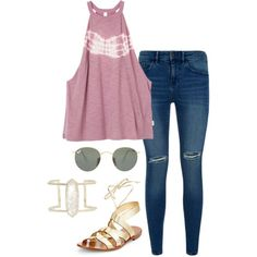 A fashion look from April 2016 featuring RVCA tops, Lipsy jeans and Kate Spade sandals. Browse and shop related looks.