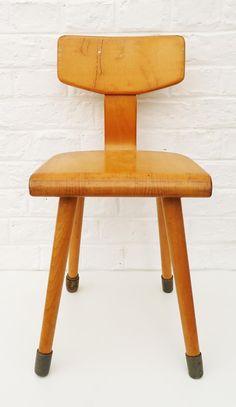 Vintage Mitte Jahrhundert Moderne Massivem Holz Kind Stuhl