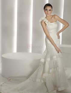 ❀ Pretty One Shoulder Lace Sheath Wedding Dresses | Riccol ❤
