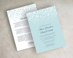 Light blue and white polka dot wedding invitations, wedding invites www.appleberryink.com
