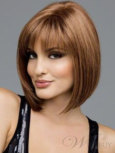 Shoulder Length Bob With Bangs | The Sporty Straight Shoulder Length Bob Light Auburn Wig about 10 ...