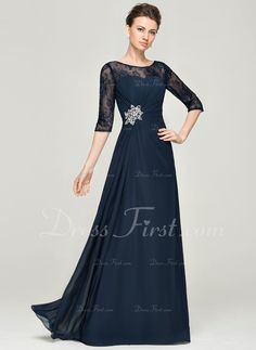 A-Line/Princess Scoop Neck Floor-Length Ruffle Beading Sequins Zipper Up Sleeves 1/2 Sleeves No 2015 Dark Navy Spring Summer Fall General Plus Chiffon Lace Mother of the Bride Dress