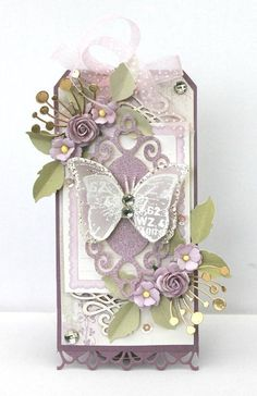 A gorgeous purple tag by talented Johanna Atc Cards, Easel Cards, Shabby Chic Cards, Paper Tags, Scrapbook Embellishments, Scrapbooking, Birthday Tags, Handmade Tags, Altered Boxes