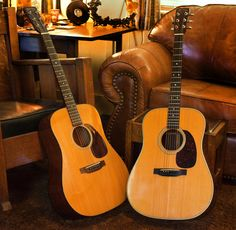 "On the left is the 1952 D-18 Neil Young used on the Freedom album. After those sessions, Young decided he didn't want to use it again. ""His guitars are kind of dark sounding. This one has brilliant highs and is my favorite Martin."" The '60 Martin D-28 on the right belonged to Bob Dylan. It was one of two D-28s used on the Rolling Thunder Review."