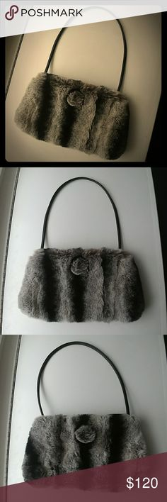 Paola del Lungo Chinchilla Purse - Color: Gray & black fur   - Material: 100% Chinchilla  - Used once & in perfect condition By Paola del Lungo Bags Shoulder Bags