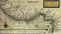 Historic map of the guineas coast c. 1725 by Hermann Mol