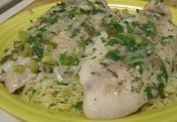 Drick's Rambling Cafe: Poached Fish in Wine Butter Sauce 5 tablespoons butter, divided 1 shallot, minced 2 green onions, green parts only, minced 2 garlic toes, minced 1/4 cup white wine 1/4 cup fish stock 1/2 teaspoon dill weed 2 tablespoons fresh parsley, chopped 1/4 pound small shrimp, peeled & deveined (optional) Juice of 1/2 lemon Salt and pepper, to taste