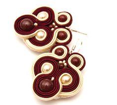 Burgundy wedding earrings / hand by MANUfakturamaanuela on Etsy, $35.00