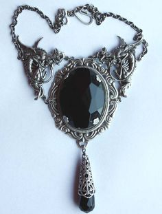 Steampunk Jewelry Black stone Gothic necklace filigree Dragon choker by pinkabsinthe | Smoked Glass Goggles