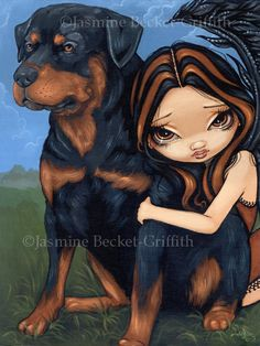 Fairy with a Rottweiler dog fairy art print by by strangeling, $13.99