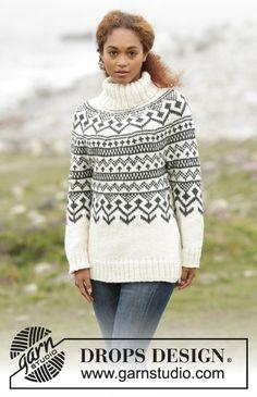 Nordic - Free knitting patterns and crochet patterns by DROPS Design Tejido Fair Isle, Punto Fair Isle, Sweater Knitting Patterns, Cardigan Pattern, Knit Patterns, Drops Design, Fair Isle Knitting, Free Knitting, Nordic Sweater