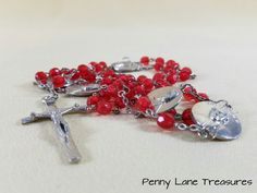 Red Rosary ~ Pope John Paul II ~ Medals ~ Red Beads ~ 1960's ~ Christening ~ Christmas Gift ~ Birthday ~ Necklace ~ Penny Lane Treasures by PennyLaneTreasures on Etsy