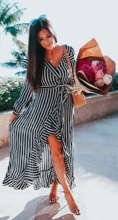 8fcb41d7c Long Black and white striped dress  ASOS