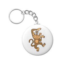 AX- Happy Dancing Monkey Basic Round Button Keychain
