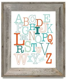 ABC Print for Child/Alphabet Art Print/Shades of Teal and Orange/Nursery Decor/Playroom Decor