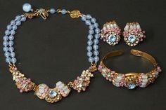 Miriam Haskell Bead, Rhinestone & Filigree Necklace, Earrings & Bracelet Set-oldetown(seller) ebay.com