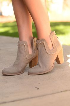 These booties are everything! They have gorgeous cut outs on each side that are bordered with a fun design for a detail no one will expect! Pair with your favorite dresses or a pair of jeans. Size Cha