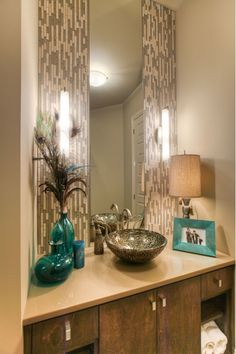 Custom Bathroom with tile backsplash and fun sink bowl. -- the pop of color added is great! Laundry Room Bathroom, Guest Bathrooms, Bathroom Renos, Custom Bathrooms, Laundry Rooms, Interior Design Advice, Diy Interior, Bathroom Pictures, Bathroom Ideas